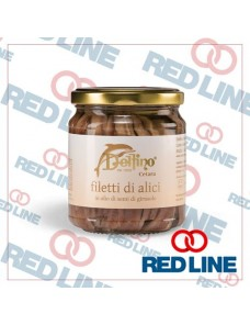 DELFINO dal 1950 - Filetti di Alici sott\'olio di girasole in vaso da 212 ml